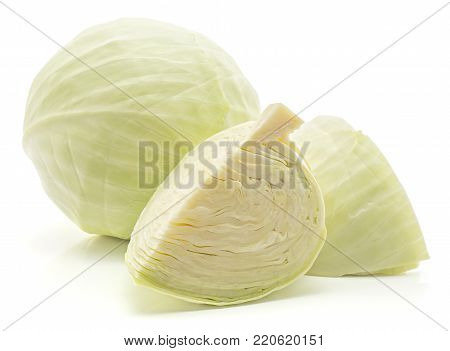 White cabbage isolated on white background one whole head two quarters