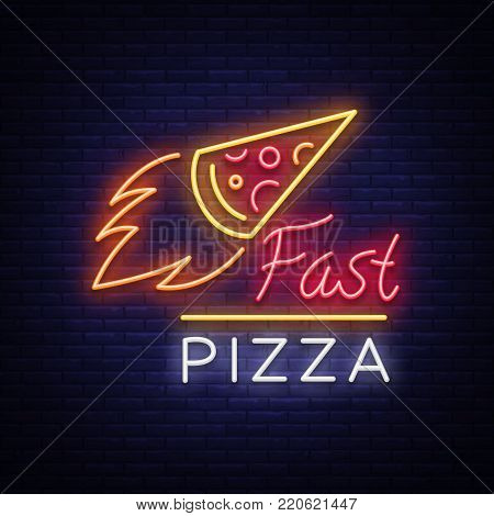 Pizza logo emblem, neon sign. Logo in neon style, bright neon sign with Italian food promotion, pizzeria, snack, cafe, bar, restaurant. Pizza delivery, fast pizza, shining banner. Vector illustration