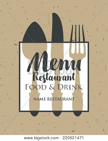 Template vector restaurant menu with Cutlery and inscriptions in retro style on old paper background
