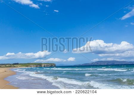 sunny Austrailian sandy beach clifton in southern Tasmania