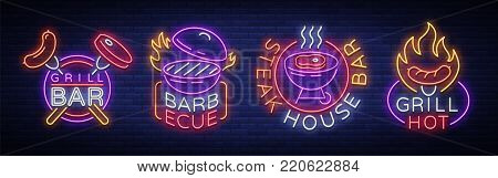 Grill is a set of neon-style logos. Vector illustration on the theme of food, meat of the same. Collection of neon signs, Grill bar, restaurant, snack bar, dining room. Barbecue, Steak House.