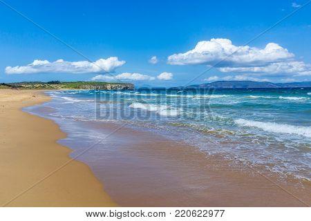 sunny Australian sandy beach in southern Tasmania