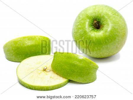 Granny Smith, one whole apple, one circle and two slices, isolated on white background