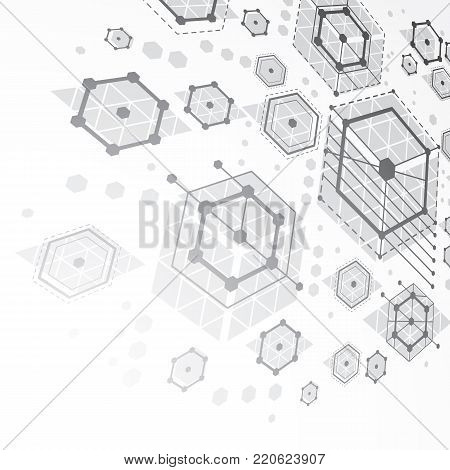 Bauhaus art dimensional composition, perspective grayscale modular vector backdrop with honeycombs. Retro style pattern, graphic backdrop for use as booklet cover template. poster