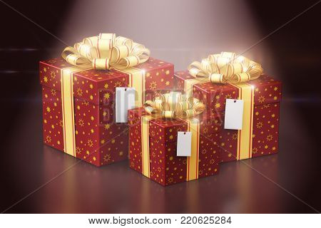 3D render illustration of the group of red color gift or present box containers with shiny colorful metallic ribbon bows and label tags isolated on black background with spot light effect