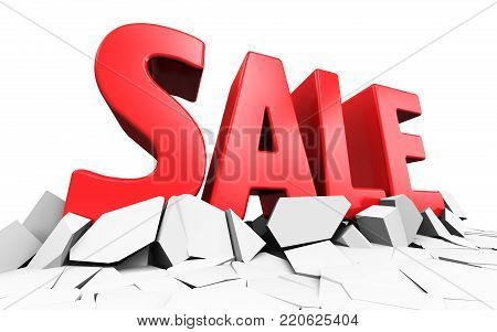 3D render illustration of red 3D Sale word text isolated on cracked white surface background