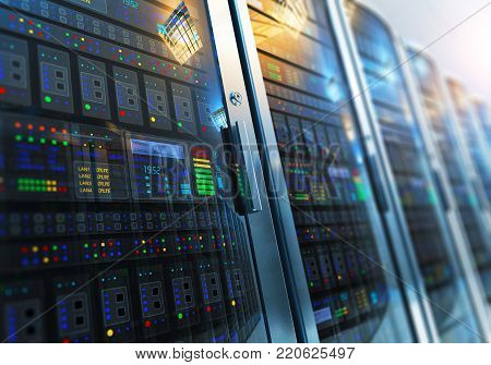 3D render illustration of the macro view of server room interior in data center with selective focus effect