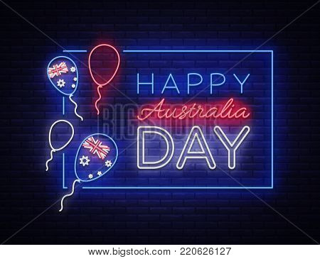 Happy Australia Day neon sign vector. Neon banner, bright card, luminous sign, Night neon welcome card Happy Australia 26 January. Flyer, design template for your projects.