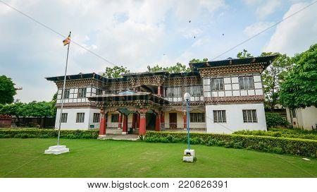 Bodhgaya, India - Jul 9, 2015. View of Bhutanese Monastery in Bodhgaya, India. Bodh Gaya is considered one of the most important Buddhist pilgrimage sites.