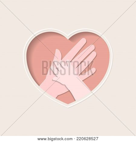 Big hand holding small one represent mother and baby, in pink heart shaped frame paper art greeting card
