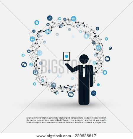Cloud Computing and Internet of Things Design Concept with a Standing Business Man Holding a Mobile, Icons Around - Digital Network Connections, Technology Background