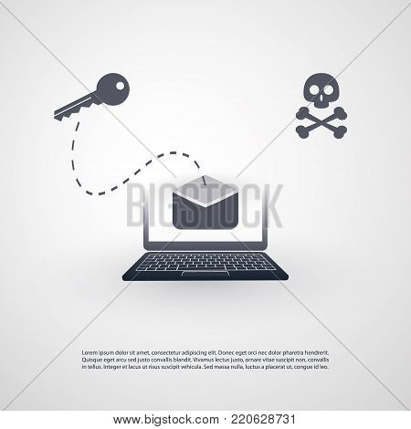 Laptop and Envelope - Backdoor Infection by E-mail - Phishing, Hacker Attack - IT Security Concept Design, Vector illustration