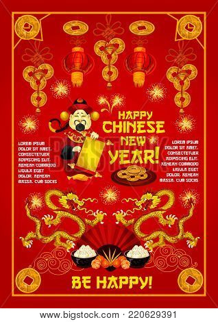 Chinese god of prosperity greeting card for Lunar New Year holiday. Oriental Spring Festival golden dragon, red paper lantern and fan, asian food, lucky coin and firework festive poster design