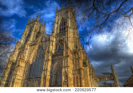 York Minster England historic cathedral and tourist attraction in colourful hdr