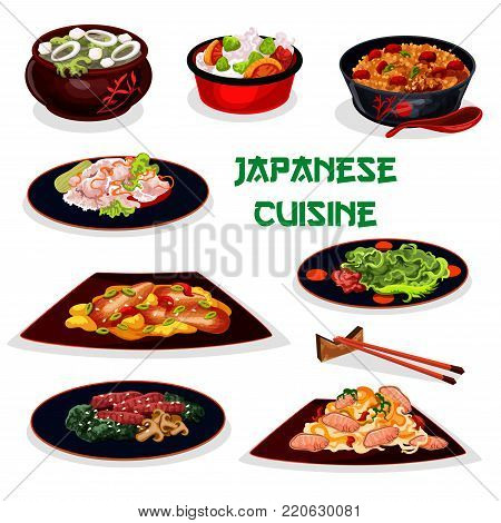 Japanese cuisine traditional dinner cartoon icon with sticky rice, pork noodle, eel fish with vegetable, sea kale soup with tofu, teriyaki beef with mushroom, fried rice with meat, marinated ginger