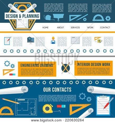 Building construction company landing page template for internet page, website design. Building design and home repair web banner with work tool and navigation menu buttons