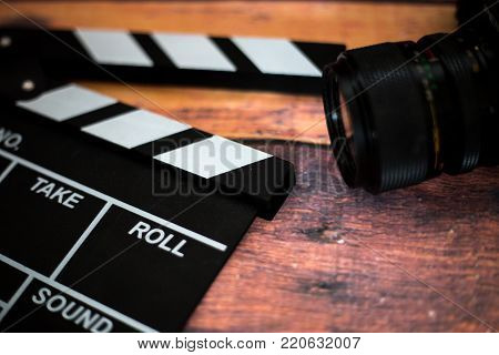 Movie Clapper And Old Camera On A Wooden Background, Movie Shooting, Film, Screenplay, Director