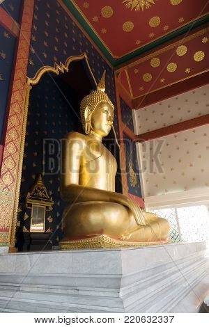 Luang Por To is a gilded Buddha statue constructed during the reig of King Rama III. Wat Saket Bangkok, Thailand