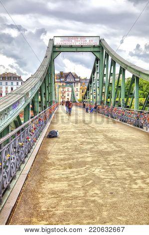 FRANKFURT AM MAIN, GERMANY - May 07,2014: Pedestrian bridge over the river Main