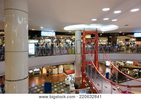 BANGKOK, THAILAND - December 7, 2017: Pier 21 Food Terminal in Terminal 21 Shopping Mall. Terminal 21 food court has an excellent cross-section of Thai cuisine, with Chinese, Indian and Western.