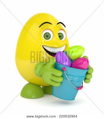 3d render of Easter cartoon egg with pail over white background