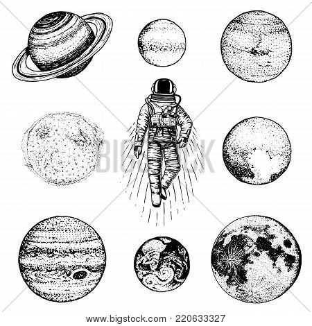 astronaut spaceman. planets in solar system. astronomical galaxy space. cosmonaut explore adventure. engraved hand drawn in old sketch. moon and the sun and earth, mars and venus, jupiter or saturn