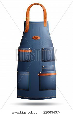 Realistic denim apron with pockets, metal rivets and clasp on loop isolated on white background vector illustration