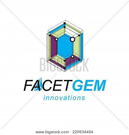 Technology corporate logo. 3D design, abstract vector faceted shape.