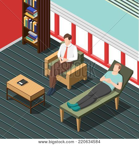 Psychotherapy counseling isometric background with doctor talking with patient lying on couch vector illustration