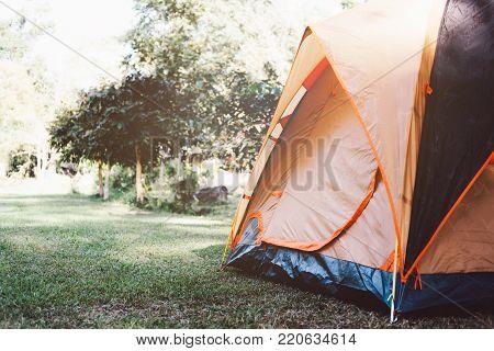 Camping Tent At National Park.