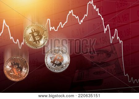 bitcoin digital cryptocurrency value price fall drop concecpt