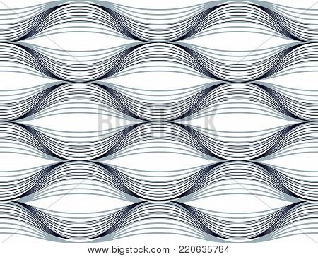Geometric seamless pattern, abstract tiling background, vector repeat endless illustration. Wavy curve shapes trendy repeat motif. Single color, black and white. Usable for fabric, wrapping, web and print.