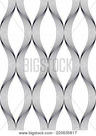 Geometric seamless pattern, abstract tiling background, vector repeat endless illustration. Wavy curve shapes trendy repeat motif. Single color, black and white. Usable for fabric, web and print.