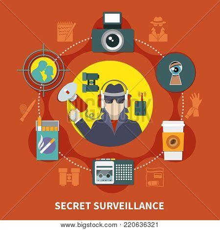 Flat detective composition with secret surveillance description and detective work tools vector illustration