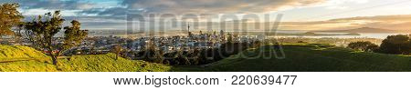Panoramic view of Auckland city from Mt Eden Summit, New Zealand