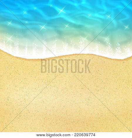 Ocean beach wave on sand or sea shore with water froth tide. Vector 3D realistic design of sun light sparkling reflection on water wave for summer travel or holiday vacation relax resort poster
