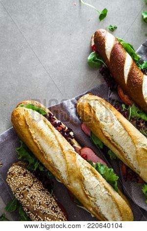 Sandwich. Fast food. Deli sandwich with vegetables
