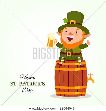 St.Patrick 's Day. Leprechaun sits on a barrel with a pint of beer in his hand. Traditional national character of Irish folklore. Element of the set of leprechauns 07. Festive collection. Isolated