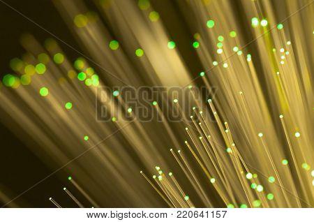 Green optical fibre close up macro shot for background image .