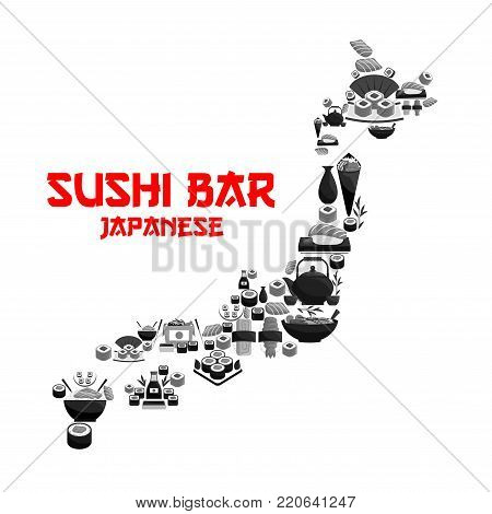 Japanese food in map of Japan with seafood sushi. Salmon roll, fish sashimi, seafood rice, noodle soup, temaki and nigiri sushi with shrimp and caviar, soy sauce, sake in shape of Japan islands