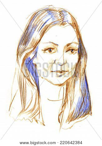 Pencil sketch of a woman s portrait. Drawing on white background.