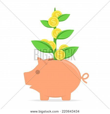 Piggy bank with coin tree isolated on white background. Symbol of saving or accumulation money, investment. Banking or business services concept. Toy pig money box in flat style. Vector illustration.