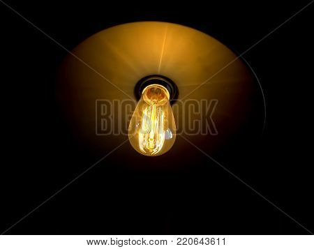 Edison lamps with glowing filament under the lampshade