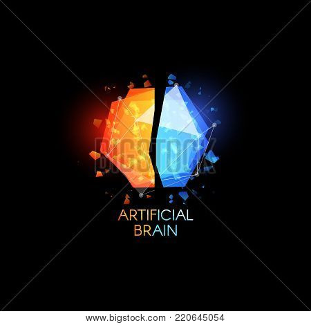 Artificial intellect, brain logo. Glasses colorful abstract polygonal shapes with shards of glass. Vector logotype template