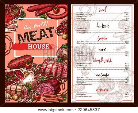 Meat house restaurant menu template with prices for delicatessen dishes and sausage food. Vector sketch design of pork ham or bacon, grill chicken and barbecue beef steak or lamb brisket salad