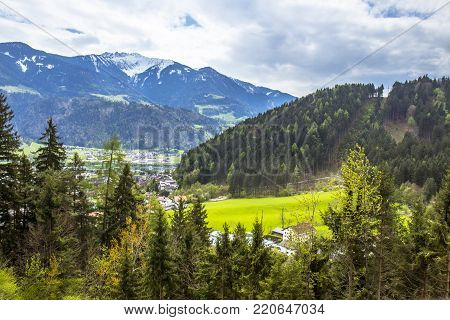 The beautiful scene of Austrian alps and valley