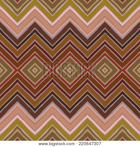 Seamless abstract geometric pattern. Hand drawn stripes in zigzag and rhomboid layout, warm terracotta autumn hues. Grunge texture, relaxed geometry. Textile print. Wallpaper.
