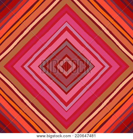 Seamless abstract diamond pattern. Hand drawn stripes in rhomboid layout, red and orange hues. Grunge texture, relaxed geometry. Textile print. Wallpaper.