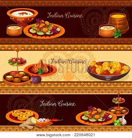Indian cuisine traditional food for lunch banner set. Chicken curry with vegetable, potato pie samosa, rice pudding with nuts, yogurt tomato sauce, semolina cake, mushroom stew, fried milk pastry