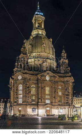 The Frauenkirche is a Lutheran church in Dresden, Saxony, Germany. At Night.